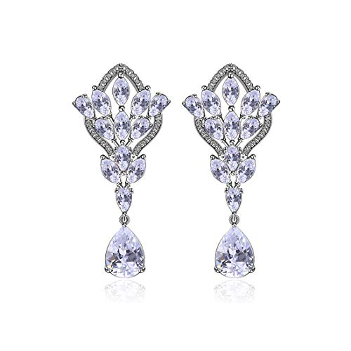 - Wedding Earrings for Brides Chandelier - Sterling Silver Clear Teardrop Marquise Crystal Cubic Zirconia CZ Bridal Leverback Dangle Drop Earrings for Party Prom Gala Pageant Bridesmaids Gift