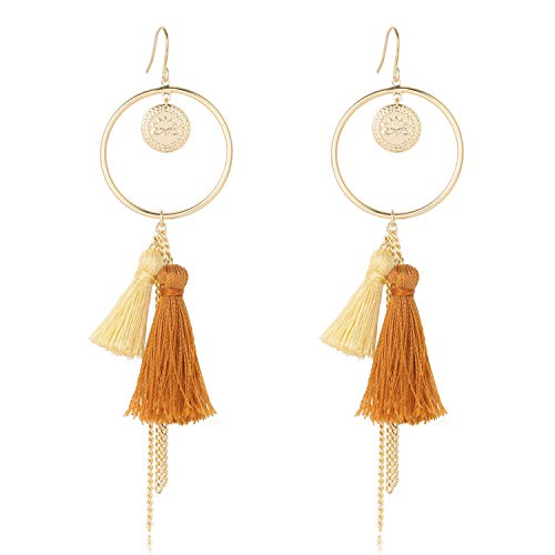 Yellow Brown Fringe Tassel Gold Hoop Drop Dangle Hook Earrings Lotus Coin Round Boho Statement Jewelry for Teen Girls