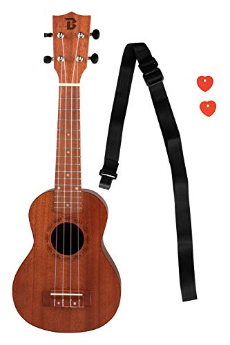 Wooden Soprano Ukulele - 21-Inch Toy Ukulele Set with Strap and Picks, Natural Wood Brown Finish, For Adults and Kids, Great for a Christmas, Secret Santa Gift