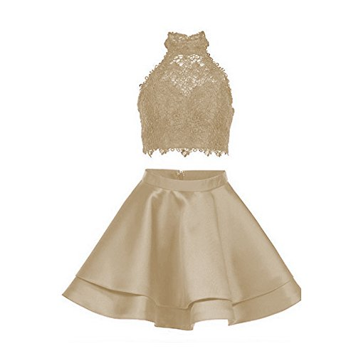 Libaosha diydressonline Satin Lace Halter Short Prom Dress Two Pieces Homecoming Dresses (US2, Champagne)