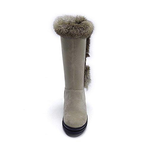 AllhqFashion Damen Hoher Absatz Blend-Materialien Mittler Kalb Rein Ziehen auf Stiefel, Schwarz, 39