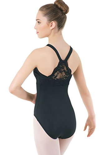 Balera Leotard Girls One Piece For Dance Womens Lace Back Panel With Empire Seam And Wide Straps Black Adult X-Large Wide Back Panel