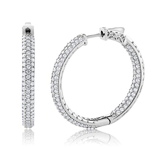 Gem Stone King 925 Sterling Silver 2.00 Ct 3 Row Pave Inside-Out Cubic Zirconia Hoop Earrings ()
