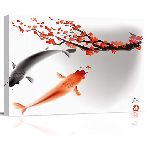 Cloud Dream Home Canvas Oil Painting Chinese Koi Fish and Flowers Wall Art Fishes and Beautiful Floral Art Picture Prints for Living Room Home Decor, Ready to Hang - 24x32 inches ()