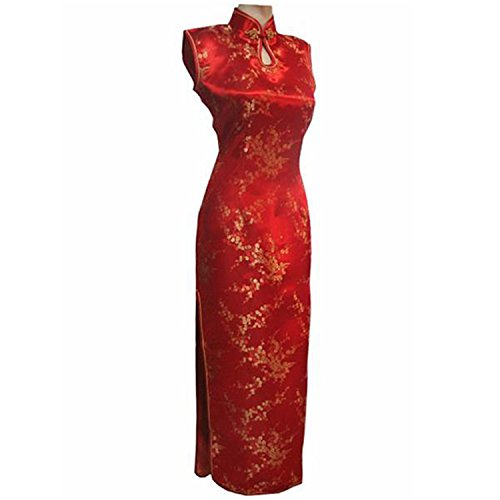 Thytas New Arrival Red Chinese Traditional Dress Women Silk Satin Cheongsam Long Dripping Qipao by Thytas (Image #1)