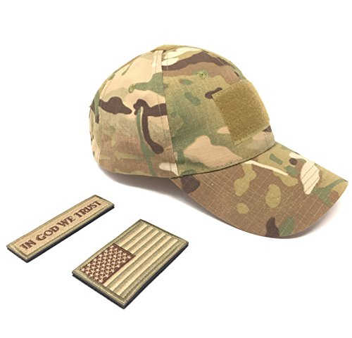 Emproda Tactical Cap Bundle with USA Flag Patches, Durable Multicam Hat With Moral Patches, Adjustable Tactical Cap Fit Most, Perfect For Training, Hunting, Airsoft, Operation, Camping, Hiking