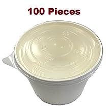 Paper Soup Container with PP Lids 8 OZ (100 PCS)
