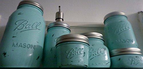 6-Piece-Mason-Jar-Bathroom-Organization-Set-Painted-Mason-Jar-Set-Mason-Jars-Soap-Dispenser-Mason-Jar-Set-Teal-Jars