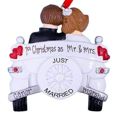 Just Married Wedding Car Personalized Ornament - (Unique Christmas Tree Ornament - Classic Decor for A Holiday Party - Custom Decorations for Family Kids Baby Military Sports Or Pets)