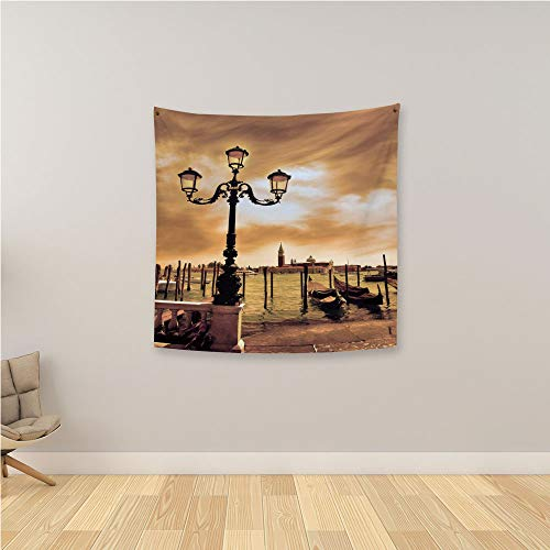 YOLIYANA Venice 3D Printing Tapestry,Venice Lagoon Gondolas Moored by Saint Mark Square on Grand Canals Dreamy Sky Decorative Wall Hanging Tapestry for Bedroom Living Room,47.2
