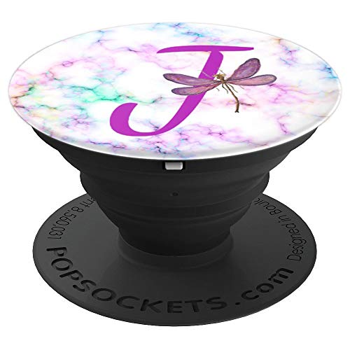 Purple J Initial Dragonfly And Rainbow Marble - PopSockets Grip and Stand for Phones and Tablets