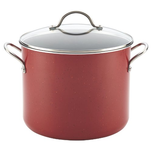 Farberware New Traditions Speckled Aluminum Covered Stockpot, Red/Black, 12 qt.