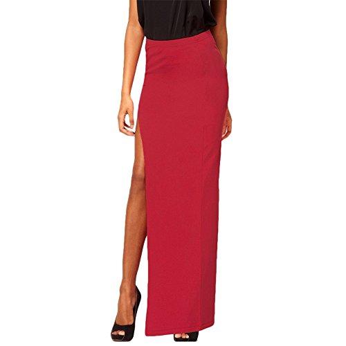 MEDIA WAVE store Gonna lunga con spacco laterale ALICIA mws ahead outfit fashion mood casual (Taglia L, Bordeaux)