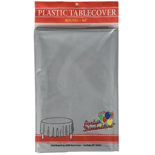 Party Dimensions Disposable Plastic Tablecloth Round, 84-Inch
