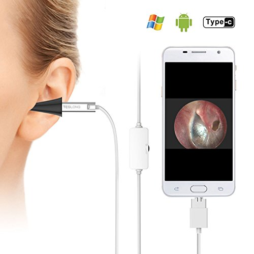 Digital Otoscope  Teslong Usb Ear Canal Scope Eardrum Inspection Camera With 6 Led Lights For Micro Usb   Type C Android Phone  Windows   Mac Pc  Sliver