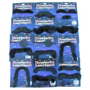 [12 Self Adhesive Fake Moustaches Halloween Costume Party Gag-Assorted Shapes and Sizes] (Moustache Halloween)