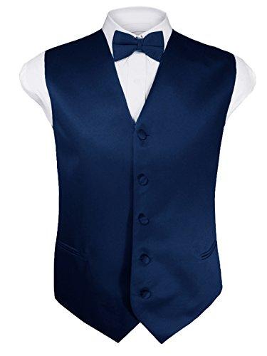 - Guytalk Mens 4pc Tuxedo Vest, Bowtie, Tie, Hanky Set Large Navy