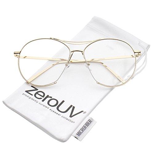 zeroUV - Oversize Semi-Rimless Brow Bar Round Clear Flat Lens Aviator Eyeglasses 59mm (Gold / - Aviator Sunglasses 59mm Semi Rimless