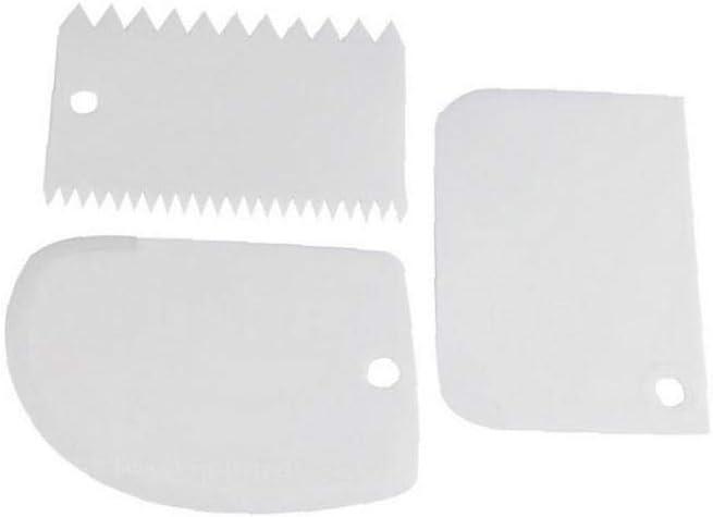 G/âteau 3pcs plastique Raclette Coupe p/âte en dents de scie Scraper d/écoration de g/âteau Outils pour Fondant au chocolat p/âte