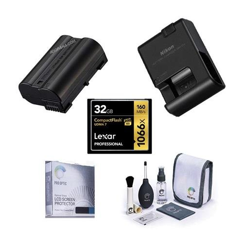 Nikon D810 Accessory Bundle - Consists of ENEL-15 Battery, MH-25A Quick Charger, 32GB Professional CF Memory Card, Dedicated Sceeen Protector, Cleaning Kit