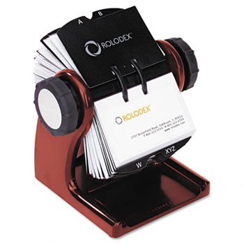Wood Tones Open Rotary Business Card File Holds 400 2 5/8 x 4 Cards, Mahogany by Rolodex