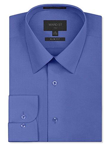 (Ward St Men's Slim Fit Dress Shirts, Medium, 15-15.5N 34/35S, French Blue)