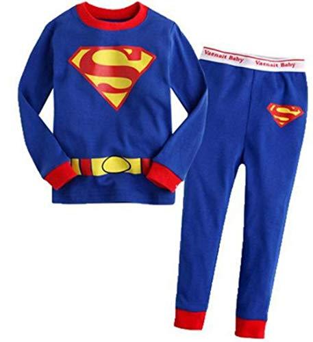 Boys Pajamas Sets Children Christmas Pants 100% Cotton Super Hero Long Kids Snug Fit Pjs Winter Toddler Sleepwear (Blue, ()