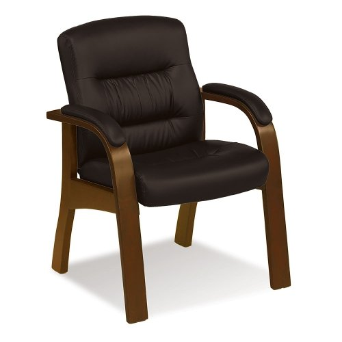 Upholstered Chestnut Chair - Guest Chair with Roasted Chestnut Faux Leather and Tuscany Wood Finish, NBF Signature Series Stamford Collection