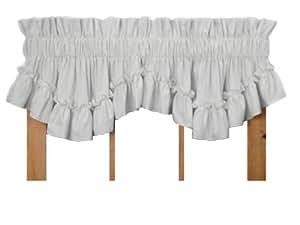 Stephanie Country Style Ruffle Shaped Valance Curtain - 1 1/2 Inch Rod Pocket, White