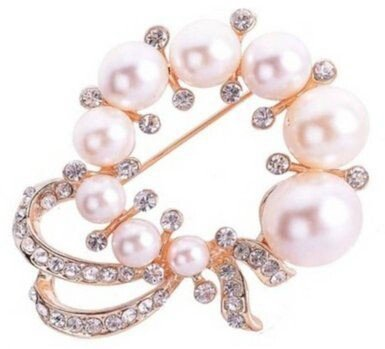 Pearl Brooch Costume Jewelry (Elegant Designer Pearl Rhinestones Flower Brooches Pins Cheap Jewelry Girl Women)