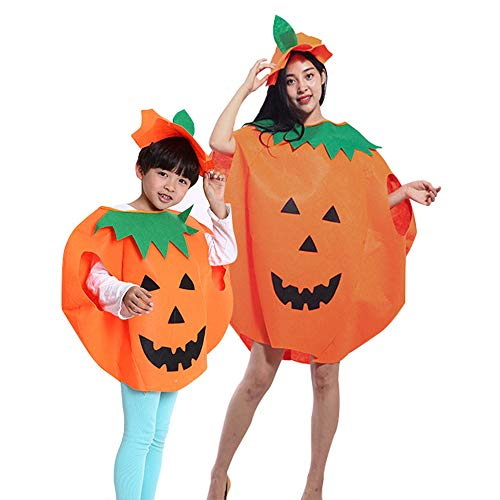 wodceeke Halloween Pumpkin Costume Set, Washable Loose Top Dress+Hat Family Outfit for Cosplay & Halloween Party (4PCS)