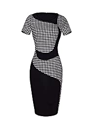 AmyTom Women's Checked Wear to Work Office Party Fitted Pencil Dress Asia Large = US 6