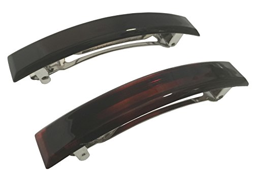 Parcelona French Bar Large Set of 2 Black N Shell Brown Celluloid Automatic Hair Clip Barrette (8 cm)