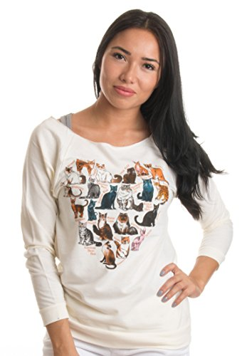 Arsty Heart made of Cat Breeds | Cat Lover Art, Cat Lady 3/4 Sleeve T-shirt Top 41HJuMW8 vL