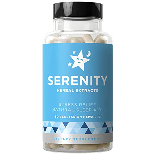 Serenity Natural Sleep Aid & Stress Relief - Relax Mind & Body, Fall Asleep Fast Without Waking Up Groggy - Non-Habit Sleeping Pills - Magnesium, Valerian, Chamomile - 60 Vegetarian Soft Capsules