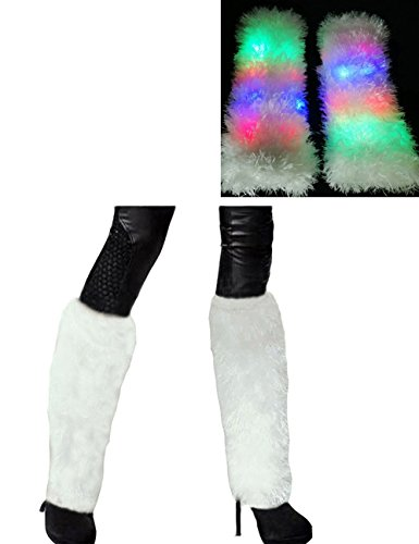 Leg Rave (Luwint LED Flashing Furry Arm Leg Warmers - Light Up Clothing Accessories for Party Costume Christmas Rave, 1 Pair (White))