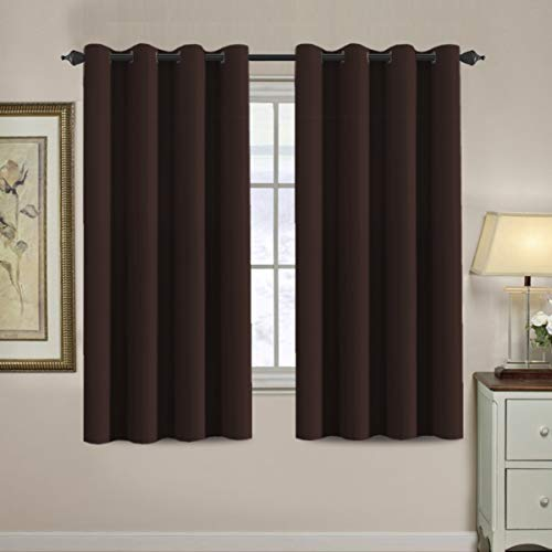 Blackout Curtains for Bedroom 63 Inches Length Thermal Insulated Curtain Grommet 63 Inch, Energy Efficient Curtain Small Window Blackout Drapes for Winter Season, 1 Panel, Chocolate Brown (Brown Curtains Cream)