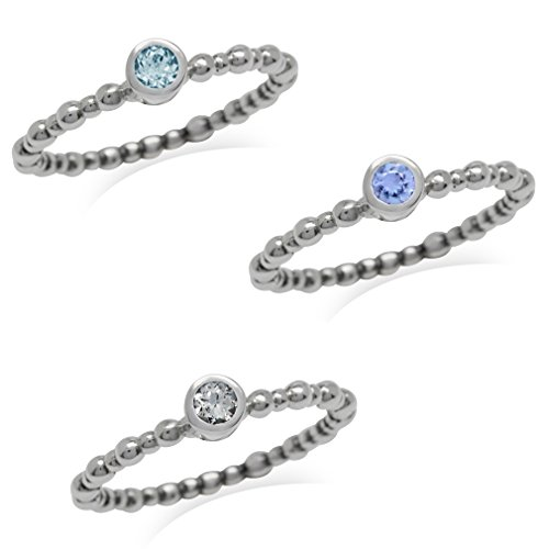 Petite Genuine Tanzanite & Topaz 925 Sterling Silver 3-Pc Bead Ball Stack/Stackable Ring Size 8 (Ring Bead Three)
