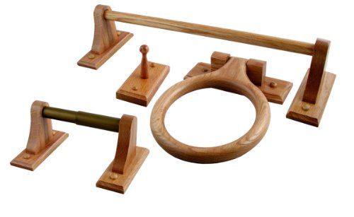 Oak 4 Piece Bathware Set including 24-Inch Towel Bar, Towel Ring, Robe Hook, and Toilet Paper Holder ()
