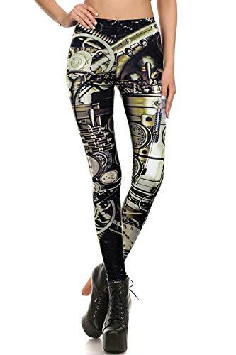 color cosplayer Steampunk Retro Comic Cosplay Women Leggings Print Polyester Trousers Pants (L, WM-KDK-72002)]()