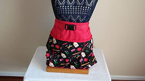 ADJUSTABLE NO TIE APRON - LIMITED EDITION/School Supplies Pattern / 3 Lined Pockets Waist Apron/Red binding on top of pockets/One size fits most/The Perfect Teacher's Gift (Ltd Bindings)