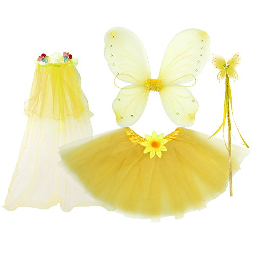 fedio 4Pcs Girls Princess Fairy Costume Set with Wings, Tutu, Wand and Floral Wreath Veil for Children Ages 3-6 (Yellow) -