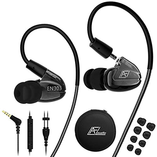 in Ear Headphones with Microphone, Wired Earbuds Earhook Removable Cable Noise Isolating Ear Buds, Sport Earphones for Jogging Gym Fitness Running Workout by LZHE