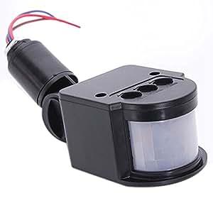 Sensor de Luz - SODIAL(R)Sensor de Luz de LED de movimiento de pared exterior de infrarrojos de lampara de color negro