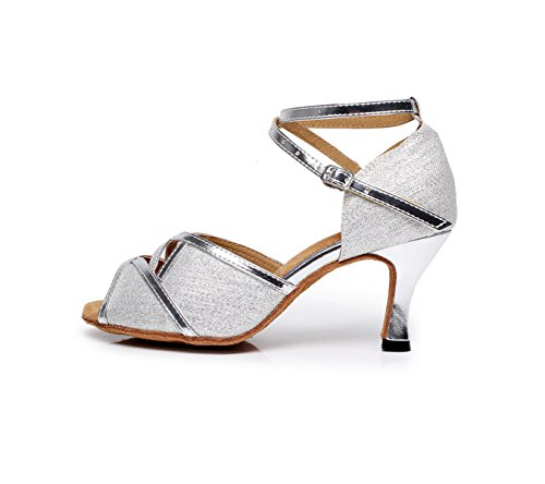 JSHOE Chaussures De Danse Sexy Pour Femmes Latin Ballroom Salsa Tango Glitter Graphics,Silver-heeled6cm-UK4.5/EU36/Our37