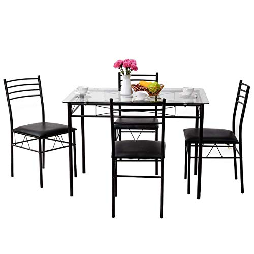 Kitchen Dining Table Set Furniture - Tangkula Dining Table Set 5 Piece Home Kitchen Dining Room Tempered Glass Top Table and Chairs Breaksfast Furniture (Black 002)