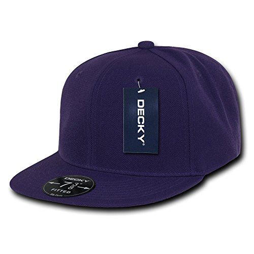 Purple Fitted Hat Cap - DECKY Retro Fitted Cap, Purple, 7 1/4