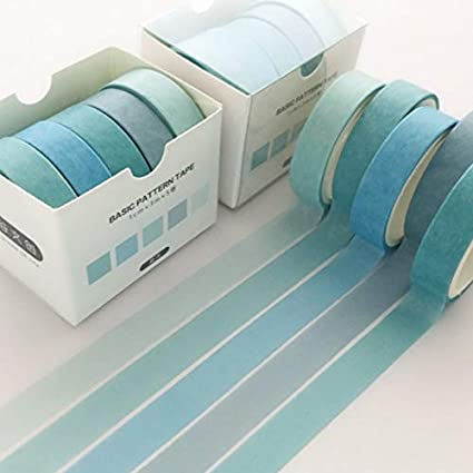 NCEHCS 5 pcs/pack Gradient Washi Tape Set Decoration Sticker Scrapbooking Diary Adhesive Adhesive Masking Tape papelería útiles escolares xia mo: Amazon.es: Oficina y papelería