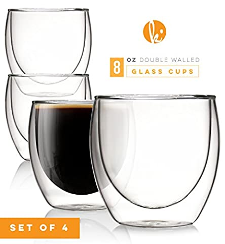 Glass Coffee or Tea Mugs Drinking Glasses Set of 4 - 8oz Double Walled Thermo Insulated Cups for Espresso Latte - 8 Ounce Cafe Mug