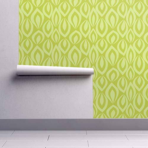 - Peel-and-Stick Removable Wallpaper - Leaves Leaves Green Chartreuse Modern Decor Leaves Leafy Mod Green by Groovity - 24in x 144in Woven Textured Peel-and-Stick Removable Wallpaper Roll